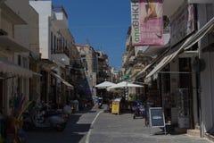 Rethymno, Griekenland 26 juli 2016: Het winkelen straat Royalty-vrije Stock Foto