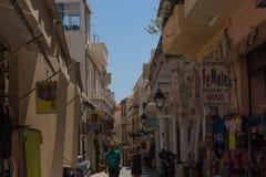 Rethymno, Griekenland 26 juli 2016: Het winkelen straat Royalty-vrije Stock Afbeeldingen