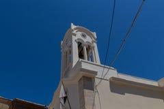 Rethymno, Griekenland 26 juli 2016: Klokketoren van orthodoxe chu Stock Afbeeldingen