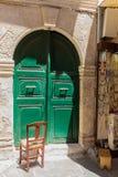 Rethymno, Griekenland 26 juli 2016: Middeleeuws overwelfde galerijportaal Stock Foto