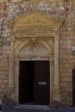Rethymno, Griekenland 26 juli 2016: Middeleeuws overwelfde galerijportaal Royalty-vrije Stock Afbeelding
