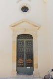 Rethymno, Griekenland 26 juli 2016: Middeleeuws overwelfde galerijportaal Royalty-vrije Stock Afbeeldingen