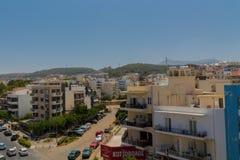 Rethymno, Griekenland - Juli 31, 2016: Panorama aan Rethymno Stock Fotografie