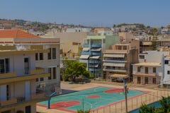 Rethymno, Griekenland - Juli 31, 2016: Panorama aan Rethymno Stock Foto