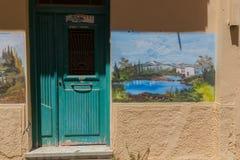 Rethymno, Griekenland 28 juli 2016: Straatkunst in Oude stad van Rethymno Royalty-vrije Stock Foto