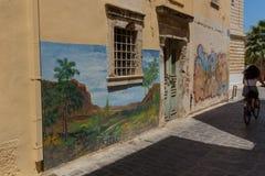 Rethymno, Griekenland 28 juli 2016: Straatkunst in Oude stad van Rethymno Stock Foto