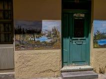 Rethymno, Griekenland 28 juli 2016: Straatkunst in Oude stad van Rethymno Royalty-vrije Stock Afbeelding
