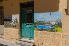 Rethymno, Griekenland 28 juli 2016: Straatkunst in Oude stad van Rethymno Royalty-vrije Stock Afbeeldingen