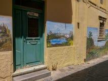 Rethymno, Griekenland 28 juli 2016: Straatkunst in Oude stad van Rethymno Royalty-vrije Stock Fotografie