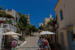 Rethymno, Griekenland 26 juli 2016: Straatwinkels op de manier aan voor Stock Afbeeldingen