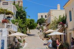 Rethymno, Griekenland 26 juli 2016: Straatwinkels op de manier aan voor Stock Fotografie