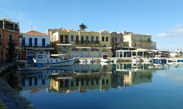 Rethymno Harbour. Crete. Greece. In winter, empty, no tourists Royalty Free Stock Photos