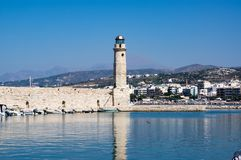 Rethymno-Leuchtturm, Kreta-Insel, Griechenland stockfotografie