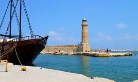 Rethymno lighthouse landmark Royalty Free Stock Images