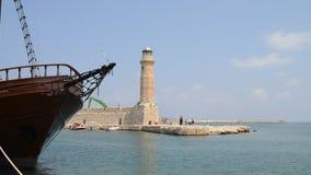 Rethymno lighthouse landmark stock video