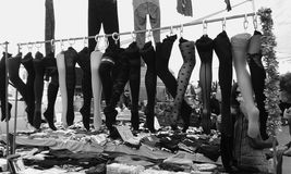 Rethymno Market. Hoisery. Tights. Stockings. Black and white Stock Photo