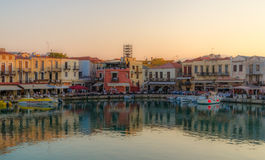 Rethymno water front at sunset Stock Photos