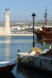 Rethymnon. Venetian lighthouse. View of Venetian harbour of Rethymnon (Crete, Greece Stock Photography
