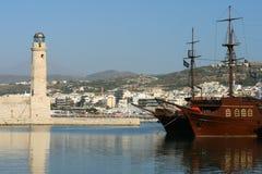 Rethymnon. Venetian lighthouse. View of Venetian harbour of Rethymnon (Crete, Greece Royalty Free Stock Image