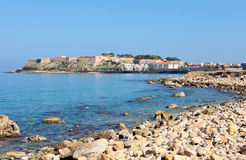 Rethymnon Castle and town. A view of the 16th Century castle, the Fortezza, in the city of Rethymnon, Crete, from the west. It is one of the best preserved Stock Photos