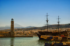 Rethymnon harbor 01. A panoramic image of the harbor at Rethymnon on the Greek isle of Crete Royalty Free Stock Photography