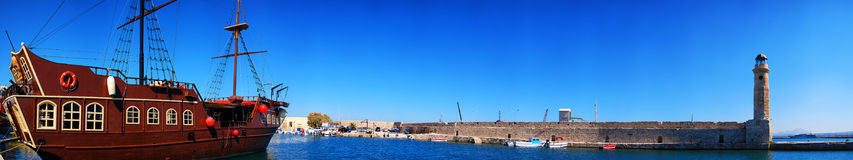 Rethymnon harbor. A panoramic image of the harbor at Rethymnon on the Greek isle of Crete Stock Images