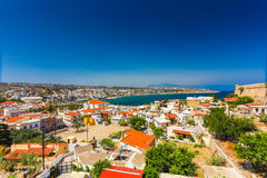 Rethymnon, Island Crete, Greece, - June 23, 2016:Panorama of city Rethymnon and sea of Crete. View from wall of Fortezza Castle Stock Photo