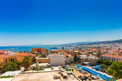 Rethymnon, Island Crete, Greece, - June 23, 2016:Panorama of city Rethymnon and sea of Crete. View from wall of Fortezza Castle Stock Images