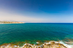 Rethymnon, Island Crete, Greece, - June 23, 2016:Panorama of sea of Crete near Rethymnon.  View from wall of Fortezza Castle Royalty Free Stock Photos