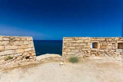 Rethymnon, Island Crete, Greece, - June 23, 2016: View on the inside part of Fortezza Castle in Rethymnon Stock Photos