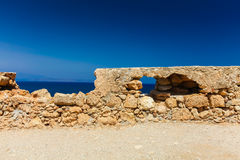 Rethymnon, Island Crete, Greece, - June 23, 2016: View on the inside part of Fortezza Castle in Rethymnon Royalty Free Stock Photo