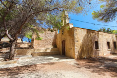 Rethymnon, Island Crete, Greece, - June 23, 2016: View on the old building of orthodox church located in Fortezza Castle in Rethym Royalty Free Stock Images