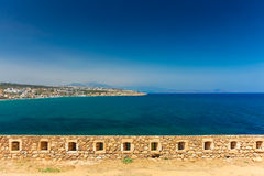 Rethymnon, Island Crete, Greece, - June 23, 2016:View on the wall of Fortezza Castle and the north part of city Rethymnon Royalty Free Stock Photo