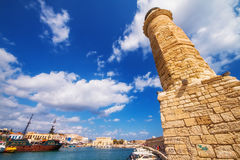 Rethymnon Lighthouse in the Old Venetian Port, Crete island Stock Photography