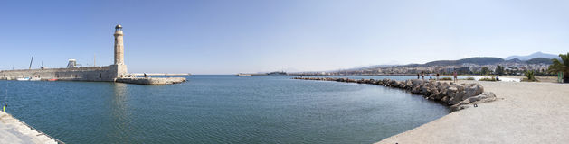 Rethymnon Lighthouse Panorama. A panoramic image of the old lighthouse situated in the Cretan port of Rethymnon Stock Image