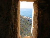 Rethymnon och den berömda fästningen av Fortezza arkivfoto