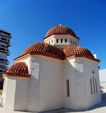 Rethymnon red roofed church. A panoramic view of a church in the town of Rethymnon on the greek island of Crete Stock Photos