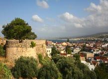 Rethymnon stad en kasteelmuur Royalty-vrije Stock Fotografie