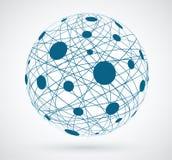 Reti, colori globali del blu dei collegamenti Immagini Stock Libere da Diritti