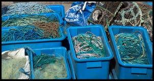 Reti, corde al porto di Mevagissey immagini stock libere da diritti