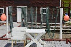 Reti da pesca che si asciugano, baia rossa, Labrador Immagini Stock