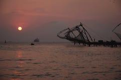 Reti da pesca cinesi a Kochi Fotografie Stock Libere da Diritti