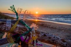 Reti da pesca con il tramonto sul mare (Puglia - Italia) Immagine Stock Libera da Diritti