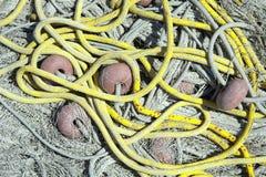 Reti da pesca e pescare i galleggianti Immagini Stock Libere da Diritti