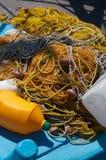 Reti da pesca gialle Fotografia Stock Libera da Diritti