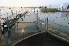 Reti di acquacoltura del paesino di pescatori Fotografia Stock