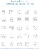 Reti ed icone di comunicazioni Fotografia Stock