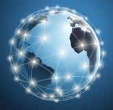 Reti globali, collegamenti digitali intorno alla mappa di mondo Immagine Stock Libera da Diritti