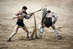 Retiarius gladiator attack Royalty Free Stock Images