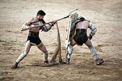 Retiarius gladiator attack Royalty Free Stock Images